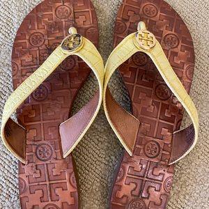 Tory Burch flip flops. Size 9. Yellow